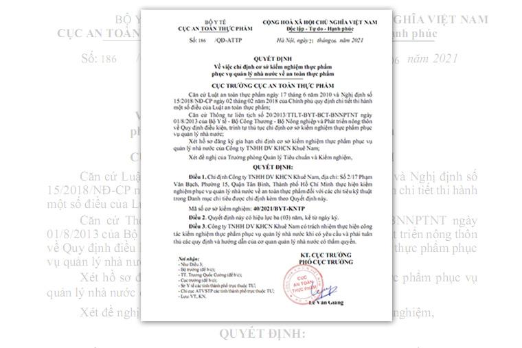 Khuê Nam nhận quyết định về việc chỉ định cơ sở kiểm nghiệm thực phẩm phục vụ quản lý nhà nước về an toàn thực phẩm