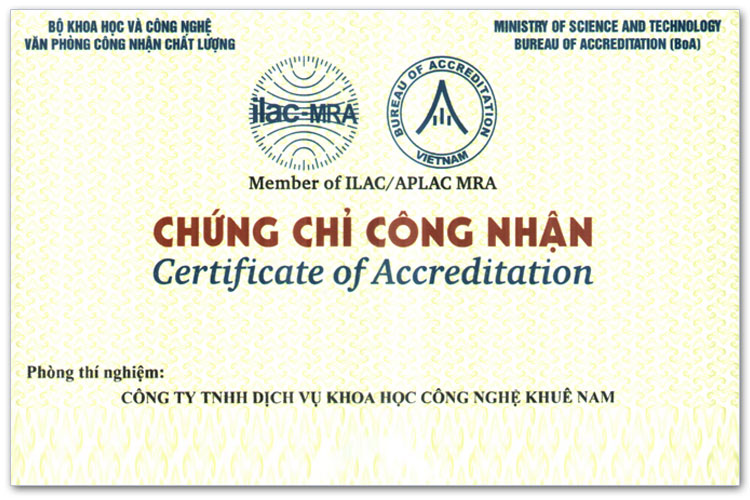 Khuê Nam nhận chứng chỉ ISO/IEC 17025:2017